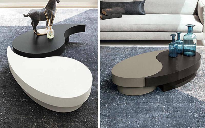 """Tavolino da salotto bicolore """"tao""""   outlet del mobile"""